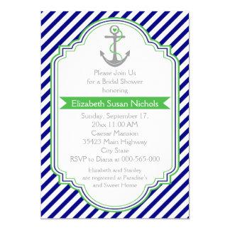 Azules marinos, ducha nupcial del boda náutico del invitación 12,7 x 17,8 cm