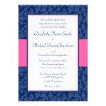 Azules marinos e invitación rosada del boda del re