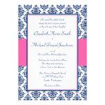 Azules marinos e invitaciones rosadas del boda del