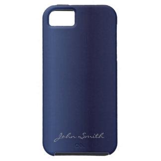 Azules marinos elegantes con nombre de encargo iPhone 5 funda