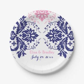 Azules marinos elegantes del adorno del damasco, platos de papel
