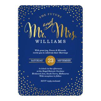 Azules marinos ELEGANTES MODERNOS del confeti del Invitación 12,7 X 17,8 Cm