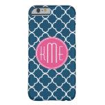 Azules marinos elegantes Quatrefoil con el Funda De iPhone 6 Barely There