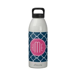Azules marinos elegantes Quatrefoil con el monogra Botella De Beber