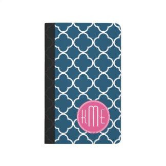 Azules marinos elegantes Quatrefoil con el monogra Cuadernos Grapados