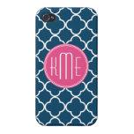 Azules marinos elegantes Quatrefoil con el monogra iPhone 4/4S Funda
