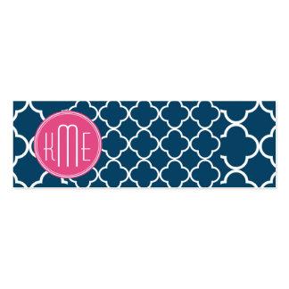 Azules marinos elegantes Quatrefoil con el monogra Tarjetas De Visita Mini
