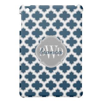 Azules marinos elegantes y gris del enrejado perso iPad mini cárcasas