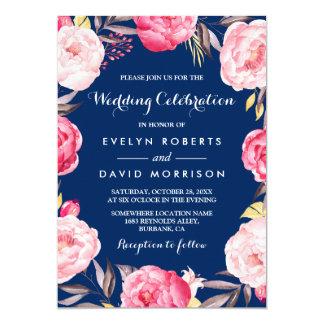 """Azules marinos florales de la guirnalda de la invitación 5"""" x 7"""""""