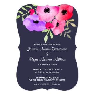"""Azules marinos florales del fiesta de compromiso invitación 5"""" x 7"""""""