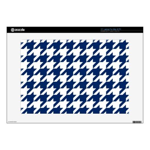 Azules marinos Houndstooth Skins Para Portátiles