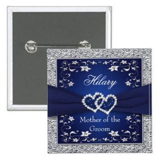 Azules marinos, madre floral de la plata del Pin d Pin Cuadrada 5 Cm