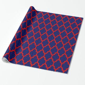 Azules marinos, marroquí rojo Quatrefoil #4 del XL Papel De Regalo