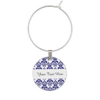 Azules marinos, modelo blanco 2 del damasco del vi identificadores de copas