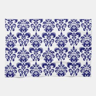 Azules marinos, modelo blanco 2 del damasco del vi toalla de cocina