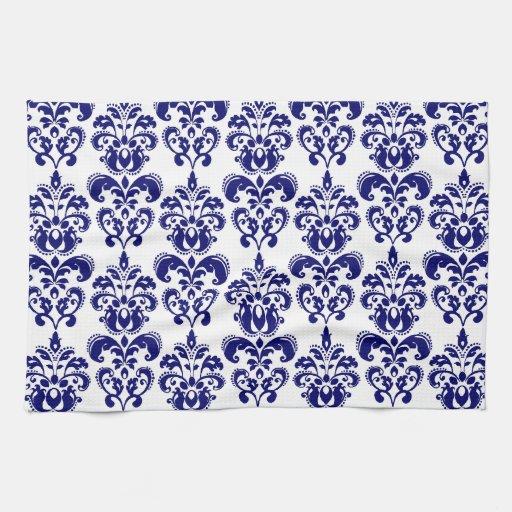 Azules marinos, modelo blanco 2 del damasco del vi toallas