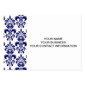 Azules marinos, modelo blanco 2 del damasco del vi tarjetas personales
