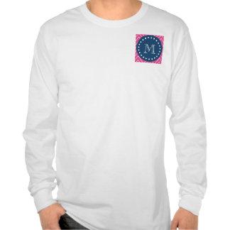 Azules marinos modelo de Chevron de las rosas fue Camisetas