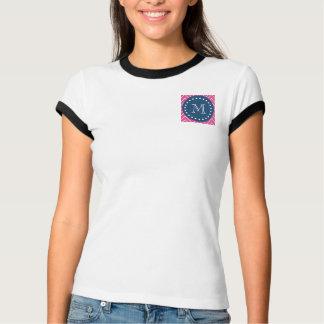 Azules marinos, modelo de Chevron de las rosas Playera