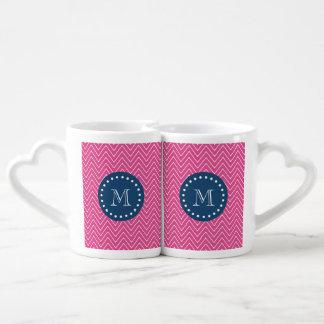 Azules marinos, modelo de Chevron de las rosas Set De Tazas De Café