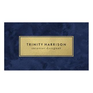 Azules marinos modernos elegantes y oro de la tarjetas de visita