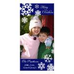 Azules marinos múltiples de la tarjeta de la foto  tarjetas personales con fotos