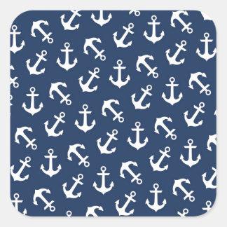Azules marinos náuticos ausentes del modelo de las pegatina cuadrada