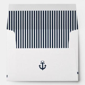 Azules marinos náuticos de la cuerda y del ancla sobres