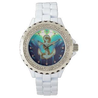 Azules marinos NÁUTICOS/del MAR de las ONDAS, del Relojes De Pulsera