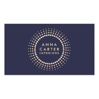 Azules marinos oscuros silenciados del oro del tarjetas personales