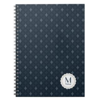 Azules marinos oscuros y monograma personal gris libro de apuntes con espiral