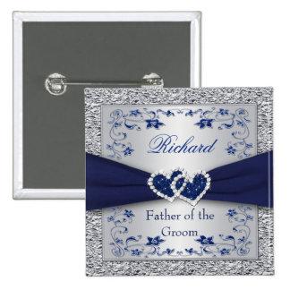 Azules marinos, padre floral de la plata del Pin d Pin Cuadrada 5 Cm