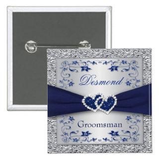 Azules marinos, padrino de boda floral de la plata pins