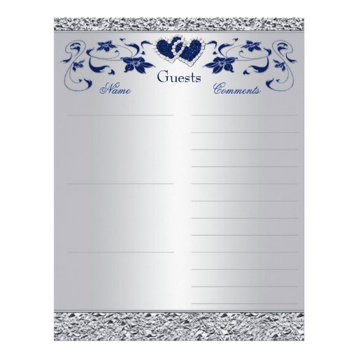 Azules marinos, papel floral del libro de visitas  membrete a diseño