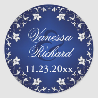 Azules marinos, pegatina floral del boda de los