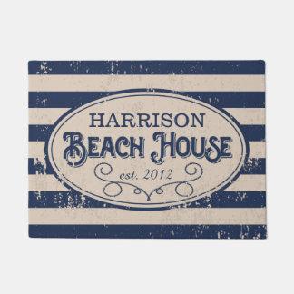Azules marinos personalizados de la casa de playa felpudo