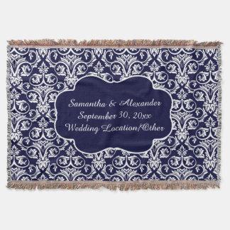 Azules marinos personalizados del boda/del manta