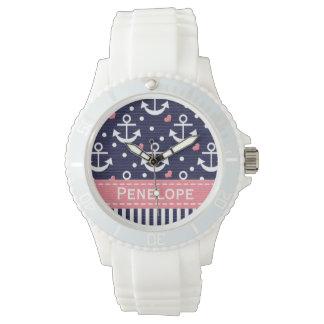 Azules marinos personalizados y ancla rosada reloj
