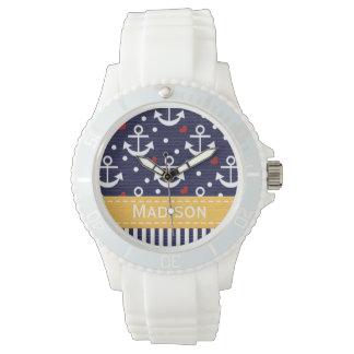 Azules marinos personalizados y ancla rosada relojes de pulsera