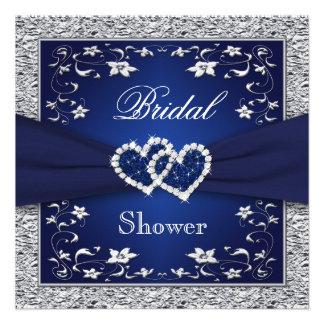 Azules marinos plata floral ducha nupcial de los invitación