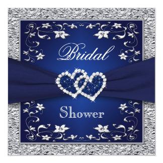 """Azules marinos, plata floral, ducha nupcial de los invitación 5.25"""" x 5.25"""""""