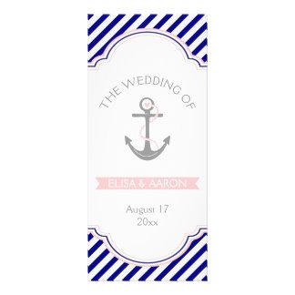 Azules marinos, programa náutico del boda del rosa tarjetas publicitarias personalizadas