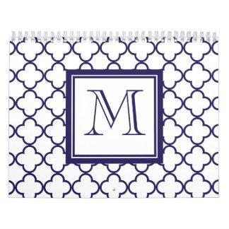 Azules marinos, Quatrefoil blanco el | su monogram Calendarios
