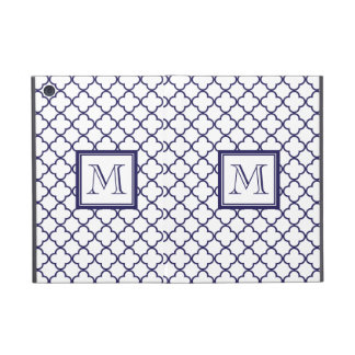 Azules marinos, Quatrefoil blanco el | su monogram iPad Mini Fundas