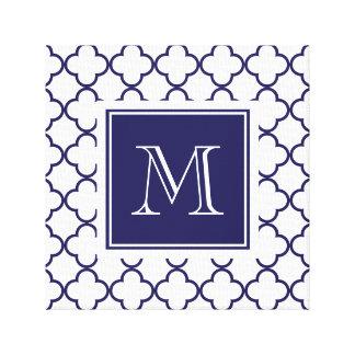 Azules marinos, Quatrefoil blanco el | su monogram Impresion En Lona