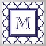 Azules marinos, Quatrefoil blanco el | su monogram Impresiones