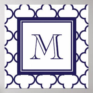 Azules marinos, Quatrefoil blanco el | su monogram Póster