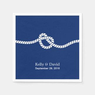 Azules marinos que atan el boda náutico del nudo servilleta desechable