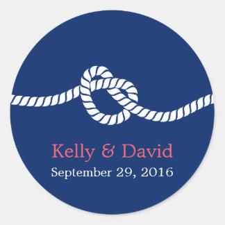Azules marinos que atan el favor náutico del boda pegatina redonda