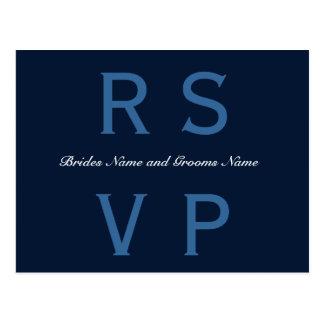 Azules marinos que casan RSVP Postal